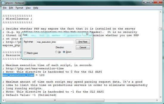 تغییر زمان حداکثر برای اجرای فایل php