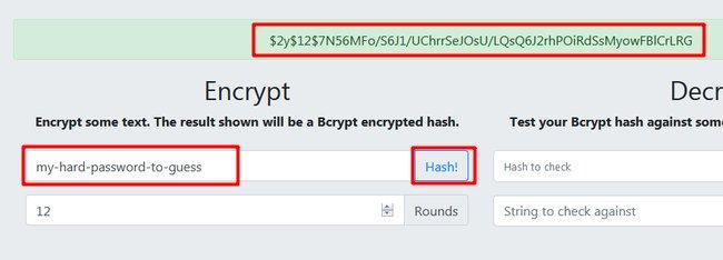 کدگذاری رمز به صورت BCrypt