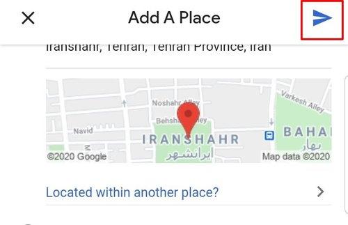 ارسال اطلاعات برای ثبت در گوگل مپ